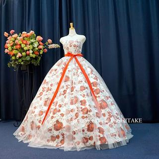 ウエディングドレス(無料パニエ付) 白ベース花柄&スノースタイル 披露宴/二次会(ウェディングドレス)