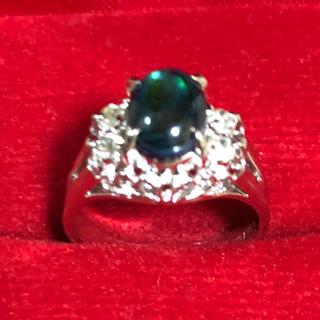 新品未使用 刻印あり ブラックオパール ホワイトラブラドライト 8.5号 指輪(リング(指輪))