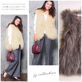 ◆新品同様◆チベットラムファー ボリューム ジレ ベスト(毛皮/ファーコート)