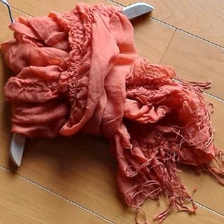 アズノウアズ(AS KNOW AS)のas know as シャーリング ストール オレンジ色 5~60×200cm(ストール/パシュミナ)