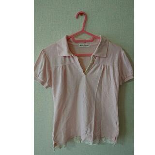 ピンク ポロシャツ 半袖 レース かわいい(ポロシャツ)