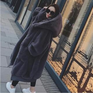 ファー付き 厚手 ロングコート  暖かい  ったり キャップ付き(毛皮/ファーコート)