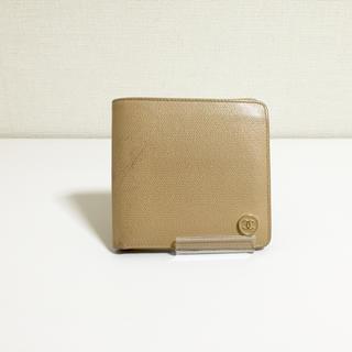 シャネル(CHANEL)のコンパクト 最安 格安 シャネル ココ ボタン!ベージュ 折財布 キャビアスキン(財布)