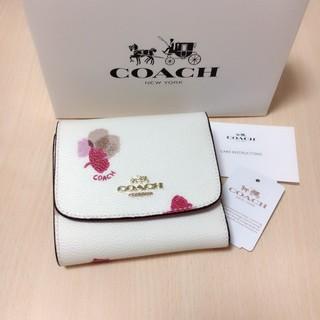 コーチ(COACH)の新品 COACH 三つ折り財布 店頭完売品 人気 フローラル ホワイト(財布)