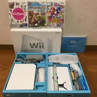 ウィー(Wii)の任天堂 wii本体+ソフト3本 すぐに遊べるセット★マリオパーティなど(家庭用ゲーム本体)