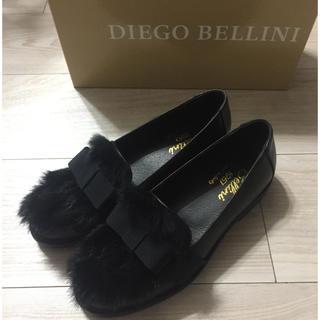 ディエゴベリーニ(DIEGO BELLINI)の新品 DIEGO BELLINI ファー付きリボンローファー(ローファー/革靴)