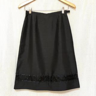 アリスバーリー(Aylesbury)の【美品】Aylesbury〈アリスバーリー〉ビーズ刺繍 上品 スカート*9*黒*(ひざ丈スカート)