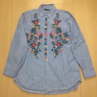 ZARA - 刺繍ストライプシャツ