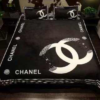 CHANEL - Chanel ベッドシーツ+布団カバー+枕カバー 4点セット プリント