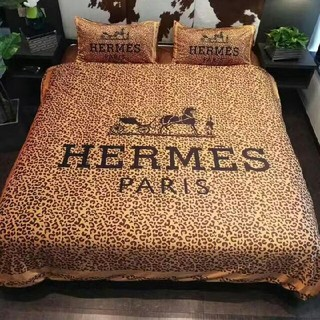 Hermes - Hermes ベッドシーツ+布団カバー+枕カバー 4点セット プリント