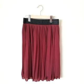 ジーユー(GU)のワインレッドプリーツスカート(ひざ丈スカート)