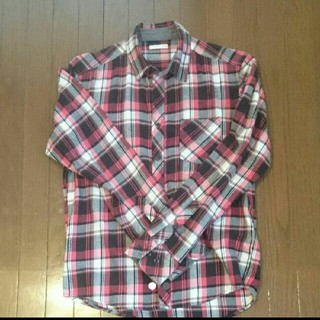 ジーユー(GU)のメンズ  GU赤チェック長袖シャツ(シャツ)