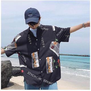 メンズL 半袖シャツ ゆったり 韓国ファッション シャツ おしゃれ ストリート