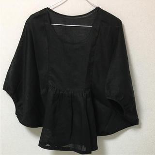 MUJI (無印良品) - 新品 リネン 七分袖 ブラック フリーサイズ