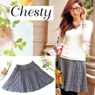 チェスティ(Chesty)のchesty ツイード スカート【ネイビー イエロー】(ひざ丈スカート)