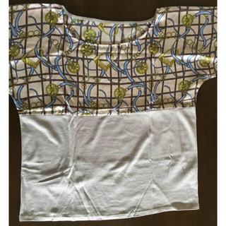 胸元切り替えデザイン ゆったり半袖カットソー サテン L(カットソー(半袖/袖なし))