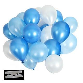 極厚 光沢 風船 3色 60個 豪華 装飾 クリップ 付き セット(ブルー)(その他)