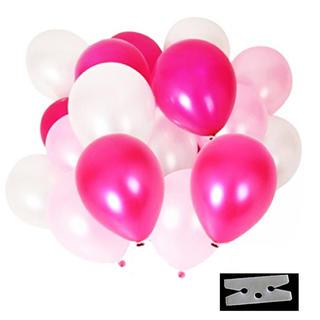 極厚 光沢 風船 3色 60個 豪華 装飾 クリップ 付き セット(ピンク)(その他)