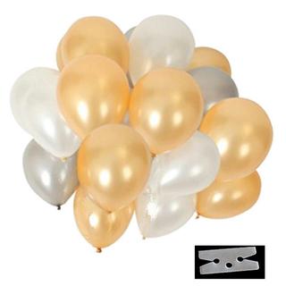 極厚 光沢 風船 3色 60個 豪華 装飾 クリップ 付き セット(ゴールド)(その他)