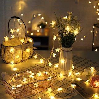 お部屋を可愛くデコレーション♡ 星型イルミネーションライト 5m 乾電池式(蛍光灯/電球)