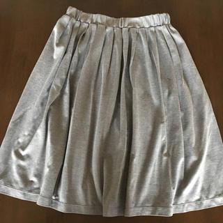 シルバーグレー ウエストゴムスカート S ギャザースカート(ひざ丈スカート)
