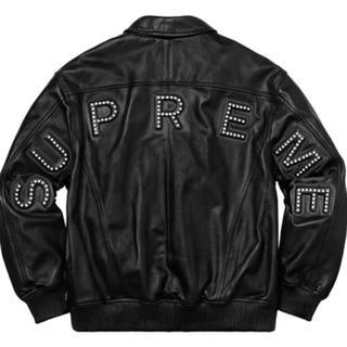 シュプリーム(Supreme)のSupreme studded arc logo leather 黒 S 新品(レザージャケット)