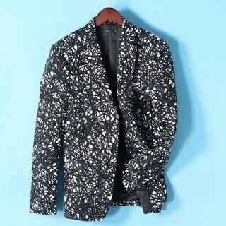 派手めな メンズジャケット モノクロ テーラード風 上着 スマート 2018(テーラードジャケット)