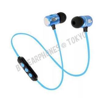 ★ブルー マグネット付 Bluetooth ワイヤレス イヤホン(ヘッドフォン/イヤフォン)