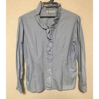 アリスバーリー(Aylesbury)の[Aylesbury]青×白 フリル付ストライプシャツ(シャツ/ブラウス(半袖/袖なし))