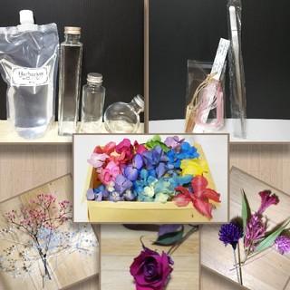 ハーバリウムオイル制作キット瓶400 ピンセット シールリボンタグレア花材赤薔薇(プリザーブドフラワー)