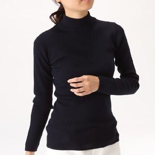MUJI (無印良品) - ◎最新◎無印良品首のチクチクをおさえたリブ洗えるハイネックセーター/ネイビーXL