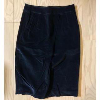 インコテックス(INCOTEX)の美品定価3万インコテックスベロアタイトスカート(ひざ丈スカート)