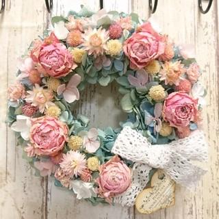 ☆薔薇たっぷり花畑紫陽花リース~紅の薄様~☆