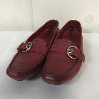 プラダ(PRADA)の本物プラダPRADA本革レザーデッキシューズスニーカー靴ドレス赤24.5cm(ローファー/革靴)