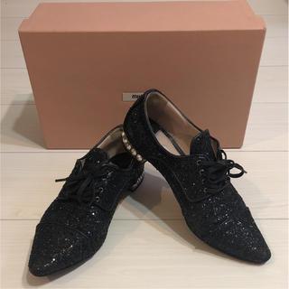 ミュウミュウ(miumiu)のミュウミュウ グリッター レースアップシューズ ビジュー(ローファー/革靴)