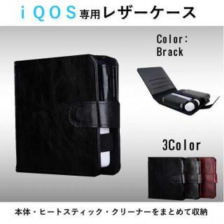 ☆まとめて収納☆ IQOS アイコスケース 手帳型 ショート ブラック(タバコグッズ)