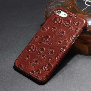 茶 ドクロ  iPhone6s/7/8/7plus レザー ケース(iPhoneケース)