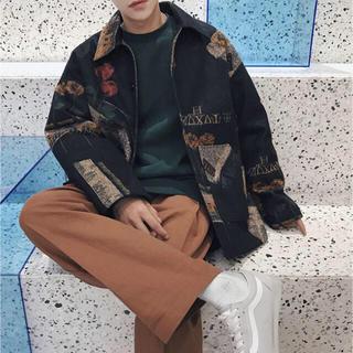 コーチジャケット 柄シャツ トレンド カジュアル ストリート 韓国 中綿(テーラードジャケット)