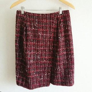 デプレ(DES PRES)の美品☆DES PRES デプレ ツイードスカート 赤 7号(ひざ丈スカート)