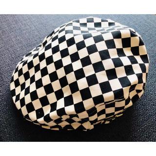 【美品】白黒チェッカーフラッグ ハンチング フリーサイズ ユニセックス(ハンチング/ベレー帽)