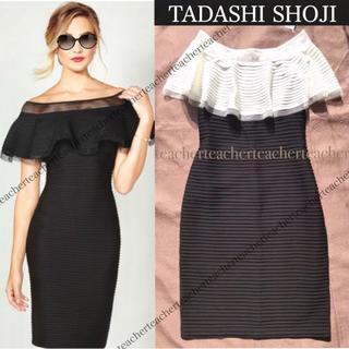 TADASHI SHOJI - ラッフルフリル ピンタック オフショルダーワンピ プリーツ ドレス 黒 白 素敵