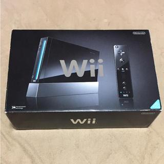 ウィー(Wii)の美品★Wii クロ 本体 箱付き 動作確認済み(家庭用ゲーム本体)