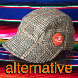 オルタナティブ(ALTERNATIVE)のalternative オルタネイティブUS限定グレンチェックwoolキャップ(キャップ)