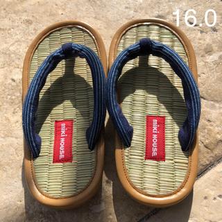 ミキハウス(mikihouse)の美品⁎⁺ ミキハウス 靴  下駄 い草 サンダル 草履 紺  16cm 男子(サンダル)