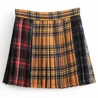 ZARA - チェック プリーツ スカート