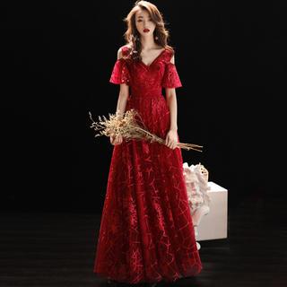 魅力的 高貴 優雅  結婚式 ワインドレス パーテイードレス (ロングドレス)