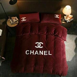 CHANEL - CHANEL寝具カバー ベッドシーツ+布団カバー+2*枕カバー 4点セット