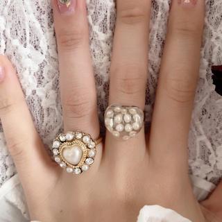 パール ハート リング 指輪 ヴィンテージ ゆめかわいい ガーリー パール