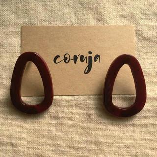 10.marble hoop pierce red(ピアス)