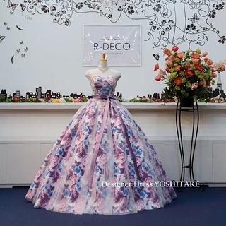 ウエディングドレス パープル花柄&白チュール 披露宴/二次会用(ウェディングドレス)
